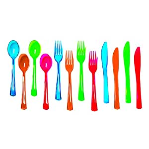 Party Essentials Heavy-Duty Hard Plastic Cutlery Combo Pack, 32 Place Settings, Orange/Green/Blue/Pink