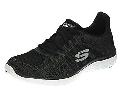 Skechers 女式 FLEX APPEAL 2.0运动鞋 黑色/炭黑 9 B(M) US