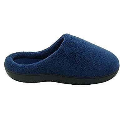 Cideros 女士和男士冬季保暖珊瑚绒家居拖鞋舒适卧室鞋类*泡沫木底鞋 深蓝色 8.5-9.5 D(M) US OS0760A101A