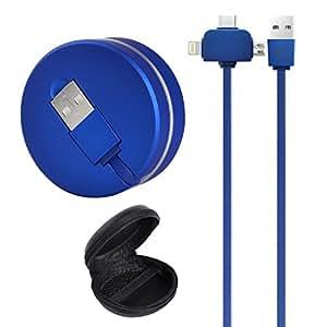 3合1多USB充电线,可伸缩充电线适用于Type-C和Micro USB,带礼品黑色存储盒。 深蓝色
