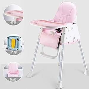 阿优威 宝宝餐椅 婴儿吃饭椅子 便携式饭桌可拆卸餐桌椅多功能安全座椅儿童餐椅 (樱花粉色, (带轮子+PU皮坐垫))