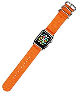 deBeer Apple Watch 2 件尼龙表带适合 42mm 系列 1 & 22281-24-AW-Silver 橙色带银色适配器