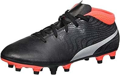 PUMA Unisex-Kids One 18.4 FG Jr Soccer-Shoes, Black Silver-Red Blast, 1 M US Little Kid