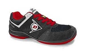 Dunlop dl0201037-46 鞋子,麂皮和网眼,黑色和红色,46