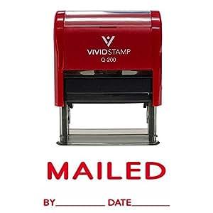 """MAILED 带 Date Line 自充气橡胶印章 Medium - 9/16"""" x 1-1/2"""" 红色"""