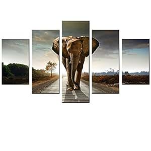fajermin 艺术 - 5板大象步行艺术微喷帆布印刷品海报帆布印花艺术墙卧室