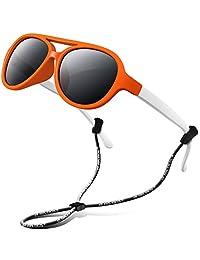 RIVBOS 橡胶儿童偏光太阳镜带拉绳眼镜男孩女孩婴儿和儿童3–10岁 rbk004