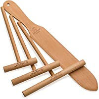 The ORIGINAL Crepe Spreader and Spatula Set - 4 Piece (7, 5, 3.5 Spreaders and 14 Spatula) Convenient Sizes to Fit Any Crepe Pan Maker   Natural Beechwood Construction From Indigo True Company