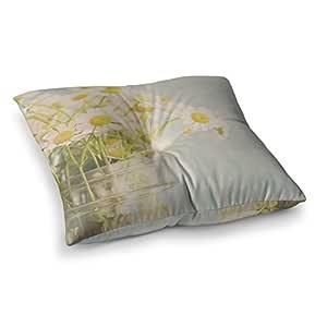 "KESS InHouse Laura Evans""O Daisy""绿色黄色方形地板枕 多种颜色 23"" x 23"" LE2006ASF01"