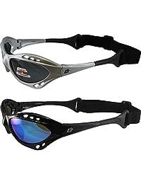 2 副 Birdz Seahawk 偏光太阳镜浮动喷气滑雪护目镜运动风筝板、冲浪、皮划艇、1 只黑色带蓝色镜片和 1 个银色带烟色镜片