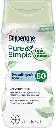 Coppertone 纯粹简单成人 SPF 50 *乳(6 液盎司)
