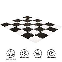 Kinderkraft 游戏垫 LUNO 体验垫 拼图垫 泡棉材质 30 个拼图套装 适合 10 个月以上的儿童 黑色 白色 黑色白色