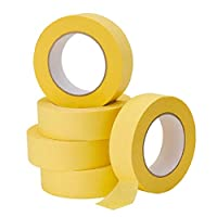 Lichamp 5件装汽车修补遮蔽胶带 黄色 36mm x 55m,汽车车辆车身涂漆胶带,汽车画家胶带散装套装 1.4 英寸 x 180 英尺 x 5 卷