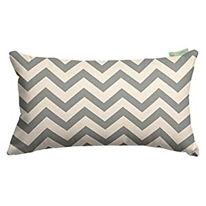 "Majestic Home Goods Chevron Small Pillow, 20"" x 12"" (Gray)"