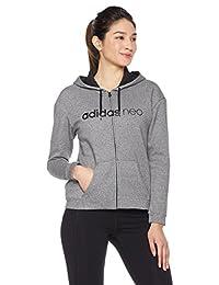 adidas NEO 阿迪达斯运动生活 女式 拉链帽衫 CD2405 黑/黑 CE NEO FLC HD