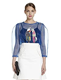 Five Plus 女式 潮欧根纱透视印花图案衬衫 2YL3013230