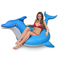 GoFloats 海豚泳池漂浮派对管 - 充气筏 适合成人和儿童