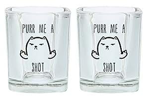 Purr Me a Shot 礼物方形杯 黑色 A-P-PD-2SSG-0034-02-Blk