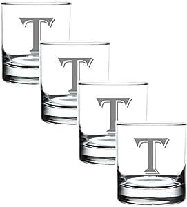 4 件套 325 毫升雕刻厚底摇滚玻璃杯优雅玻璃 - 用作多功能饮料玻璃或作为*杯 - 适合任何特殊场合的完美礼物 - 作者:Rox T-Monogram COMINHKPR126163