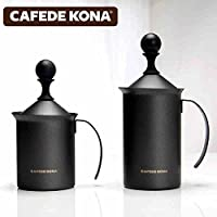CAFEDE KONA打奶器 家用花式咖啡拉花牛奶打泡杯 手动奶泡器奶缸特氟龙打奶器200ccCK