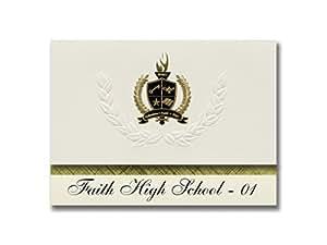 标志性公告 Faith High School - 01(乐世,SD)毕业宣布,总统风格,25 片精英包装带金色和黑色金属箔封条
