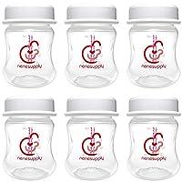 宽口径*系列奶瓶宽口储物瓶 适用于 Spectra S1 或 S2 或 9 Plus 吸奶器Avent 电动手动吸奶器替换光谱或 Avent 奶瓶 6 pc - 4.7oz/140ml