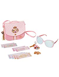 迪士尼公主风格系列旅行钱包包带肩带、太阳镜、钥匙和钥匙扣饰品,5 个硬币和 4 个纸钞,适合 3 岁以上女孩 ++