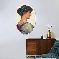 岸朵欧式油画装饰画美少女椭圆形无框客厅卧室壁画玄关酒店挂画 (33 * 50CM)