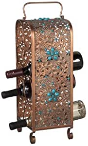 Midwest CBK 8-Wine Bottle Wine Holder, Copper and Turquoise