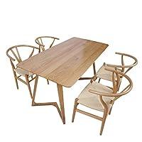 百伽 现代简约全实木餐桌椅组合进口白橡木餐厅家用一桌四椅 1.6米M型腿餐桌+4把Y椅(配送上门/安装咨询电话:400-00-17901,QQ:947880481)