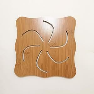 Didcant 雕刻木制杯垫/餐具装饰,完美的设计和多种图案,适合饮/*/汤、家居/办公室*装饰餐桌 - *乔迁礼品 Pinwheel Large(5.71inch)