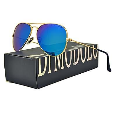 实际玻璃镜片和偏光多色可选。 Fishion 哑光金属镜框飞行员太阳镜 UV400 Frame: Matte Gold/Lens: Blue Flash 58mm