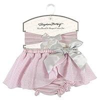 粉色银色图案 2 件套 6-12 个月女孩头带和尿布套套装