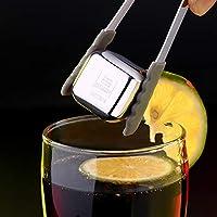 304不锈钢创意金属冰块 速冻饮料冰粒冰酒石红酒威士忌冰块酒具物理降温 (8个装+冰夹)