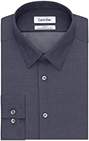 Calvin Klein 男式修身免烫烟纹人字形点领正装衬衫