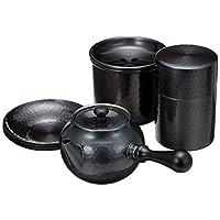 新光堂 纯铜黑铜抛光 茶壶(横柄)·建水·茶壶套装(带茶箕)·茶托组(5个)BC-124