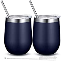 酒杯 - 带盖不锈钢玻璃杯 – 双层真空隔热杯 – 酒红色、咖啡、香槟、鸡尾酒保冷或温暖 – 12 盎司 蓝色