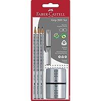 Faber-Castell 辉柏嘉 117097 铅笔 Grip 2001 硬度 B 3 件装 带橡皮擦 A 3 Bleistifte + 2 Radierkappen + 1 Spitzer