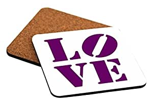 Rikki Knight LOVE Deep Purple Color Design Cork Backed Hard Square Beer Coasters, 4-Inch, Brown, 2-Pack