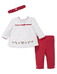 Little Me Holiday Pant Set with Headband, 12m (White Holly)