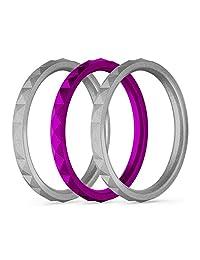 25Twelve 女式硅胶婚戒 - 色彩鲜艳,混合搭配,女式橡胶戒指