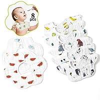 嬰兒圍兜,頸部可翻轉柔軟嬰兒圍兜,防污防臭,男女通用,吸水棉*圍兜,8件裝