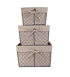 家庭 traditions 复古金属鸡 WIRE 储物篮带可拆卸织物内衬