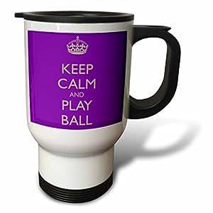 evadane–趣语–KEEP CALM and PLAY BALL ,粉色和白色–旅行马克杯 白色 14 oz