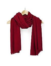 Oct17 女式大号围巾柔软羊绒触感羊绒保暖披肩冬季秋季围巾纯色轻质围巾 - 深红色