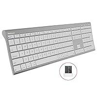 Macally RF 无线计算机键盘(全尺寸),带紧凑的 2.4GHz 加密狗 USB 接收器,适用于 Apple MacBook Pro、Air 笔记本电脑或 iMac、Mac Mini 台式机 | 即插即用(超薄)