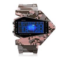 iwolkon 男孩腕表,儿童数字手表 50M 防水 LED 军事报警秒表酷飞机设计男孩 粉红色