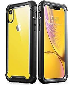 iPhone XR 手机壳,i-Blason [Ares] 全机身坚固透明防撞保护套带内置屏幕保护膜,适用于 Apple iPhone XR 6.1 英寸(2018 版本)iPhoneXR-6.1-Ares-SP-Black 黑色