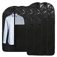 5 件套悬挂衣袋套装袋用于存放和旅行43/60英寸(约109.2厘米/152.4厘米),(5 件套)衣服收纳可洗套装,适用于 T 恤、毛衣、夹克、西装、连衣裙、外套