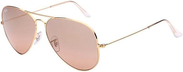 Ray-Ban 雷朋 飞行员系列太阳眼镜RB3025 001/3E 58金框茶粉色玻璃镜(进口)